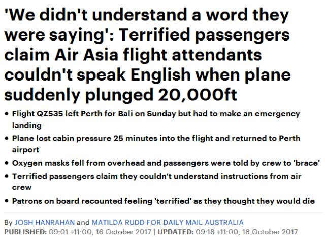 澳洲上演空中惊魂! 亚航急坠!更惊悚的是空姐的做法让人崩溃?!