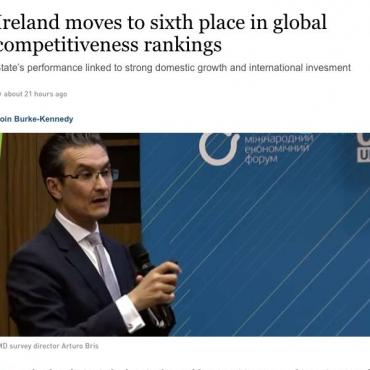 最新全球竞争力排名出炉,爱尔兰荣登世界第六位!