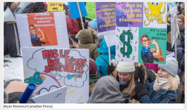 魁省 4 万名高校学生罢课 5天,抗议实习没报酬