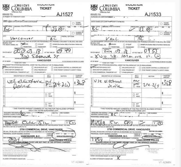 温哥华一名司机开车用手机6分钟内被抓两次,罚款愈千元